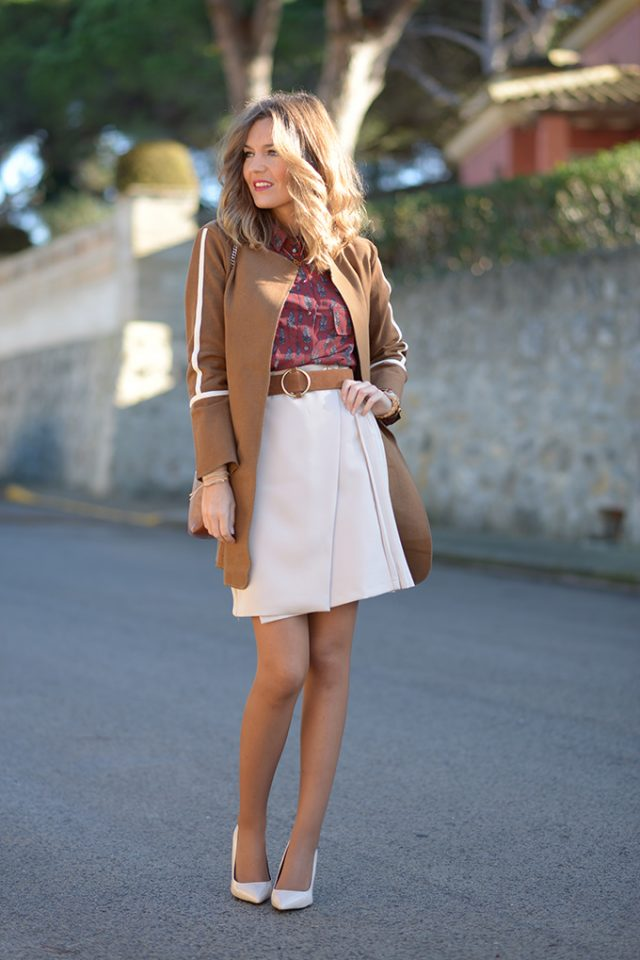 brown-trench-coat-shirt-and-whit-skirt via