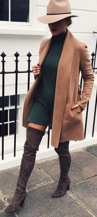 brown-trench-coat-and-teal-dress via
