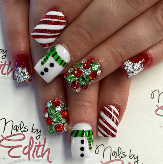 christmas-nails-with-gems via