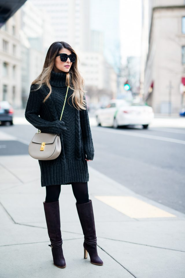 dark-grey-turtleneck-sweater-dress via