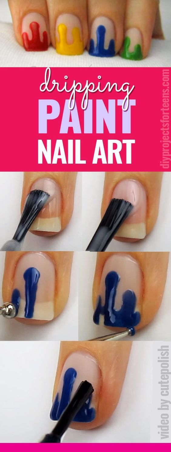 dripping-paint-nail-art via