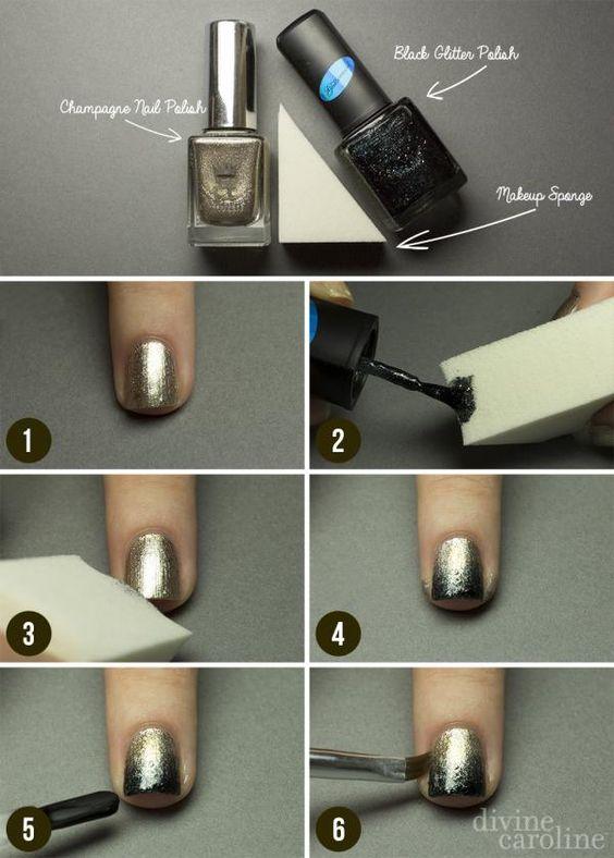 gold-ombre-nails via