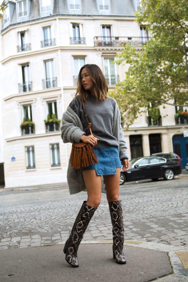 grey-sweater-and-mini-skirt via