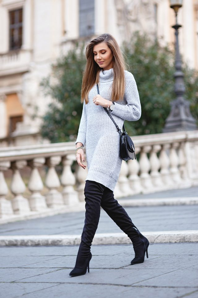 light-grey-sweater-dress-and-knee-high-boots via