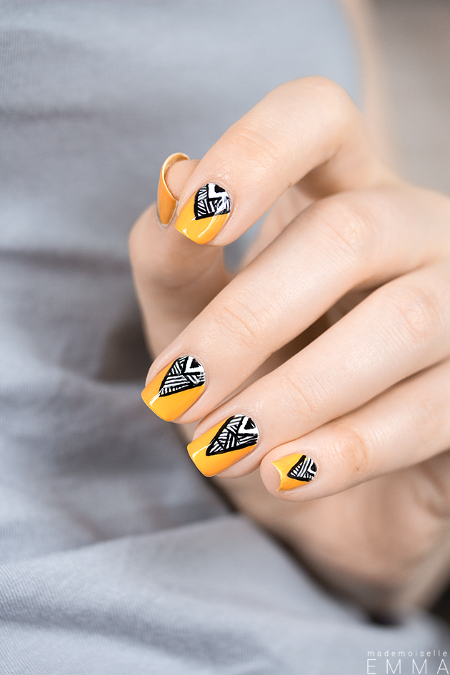 mustard-nails-and-triangle-patterns via