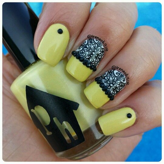 mustard-nails-with-black-stamping via