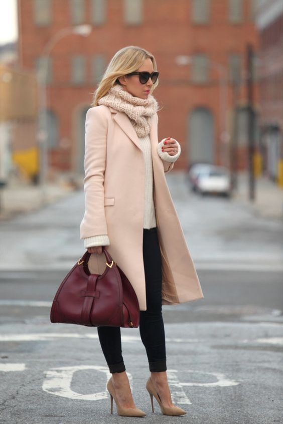 nude-coat-and-burgundy-handbag via