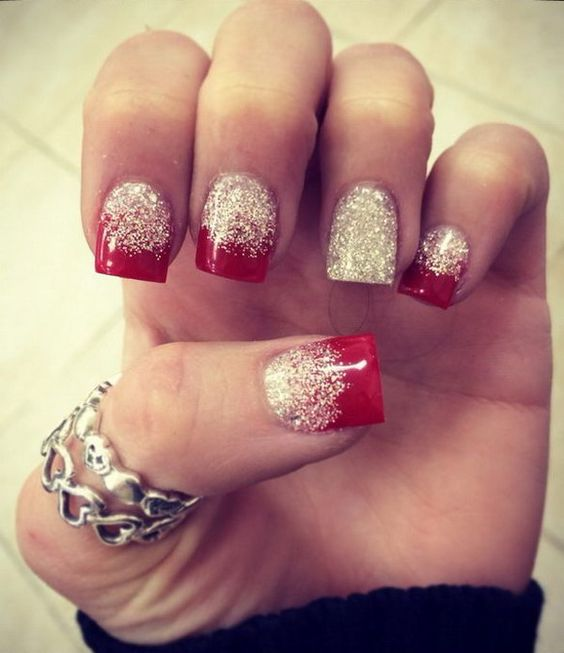 Ombre Nails With Glitter Via