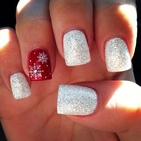 red-and-white-nails-with-snowflakes-and-glitter via