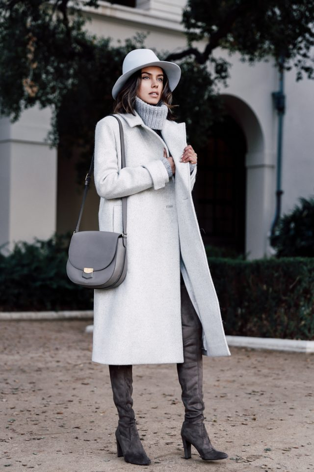 turtleneck-grey-sweater-and-long-trench-coat via