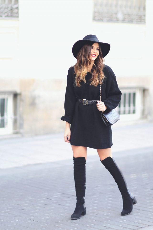 all-black-knit-dress via