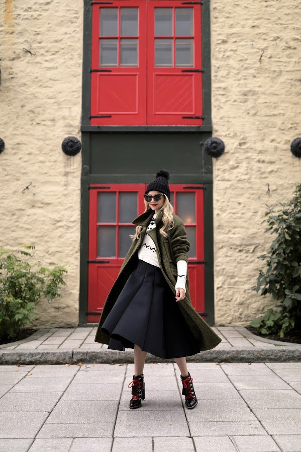 black-skirt-and-green-coat via