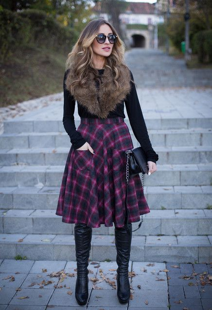 black-top-and-plaid-skirt via