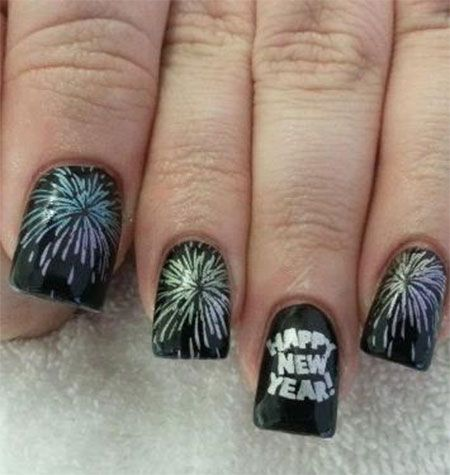 20 nail designs for new years eve pretty designs black and sliver nails prinsesfo Choice Image