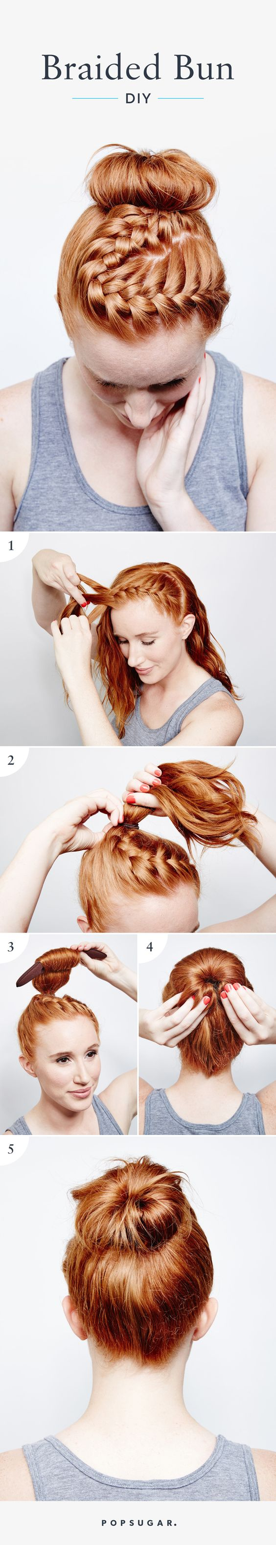 braided-top-bun-for-bright-hair via