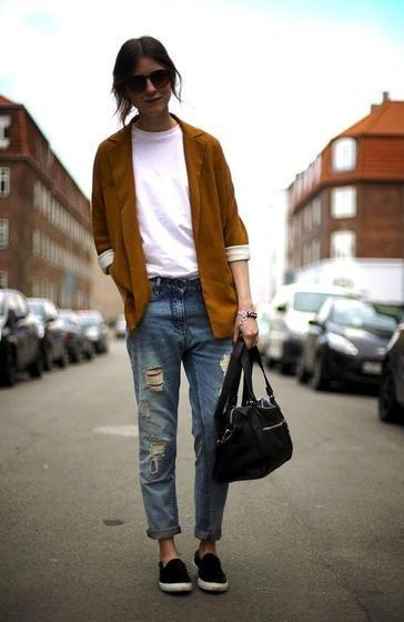 Camel Blazer Boyfriend Jeans and Loafers - Pretty Designs