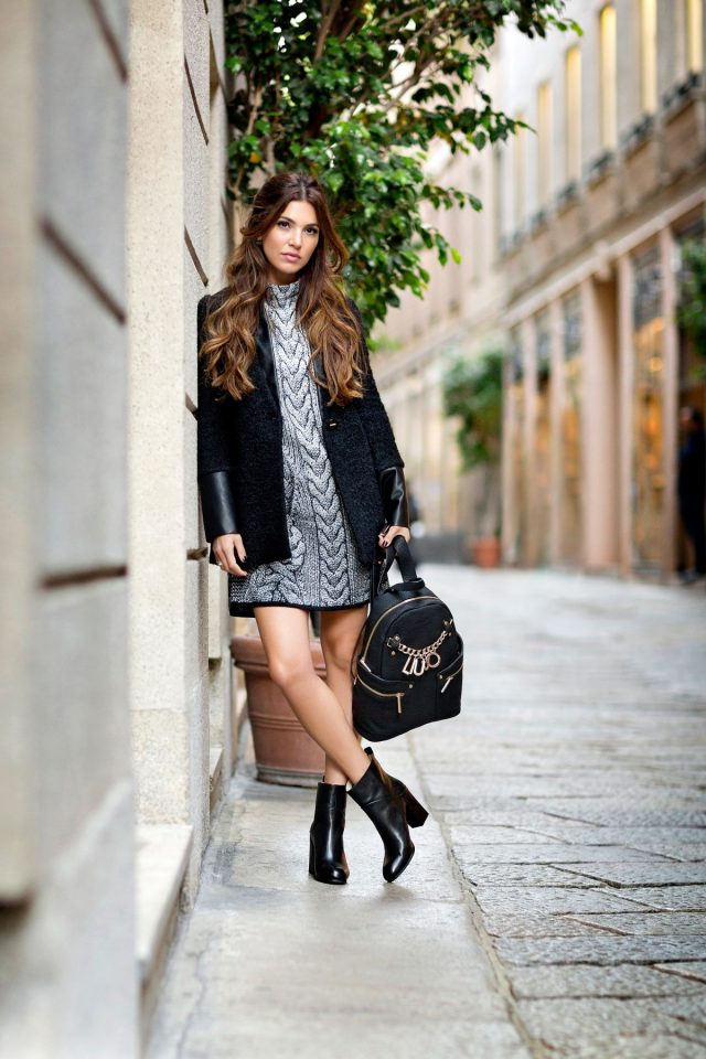 grey-knit-dress-and-black-coat via