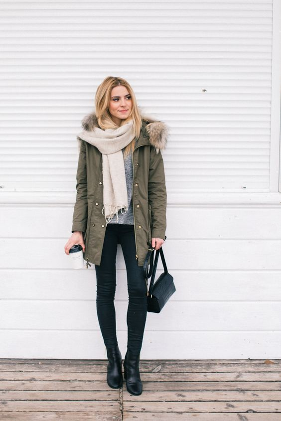 khaki-coat-black-pants-and-white-scarf via