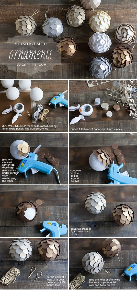 metallic-paper-ball-ornaments via