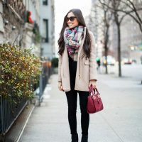 nude-coat-and-tartan-scarf via