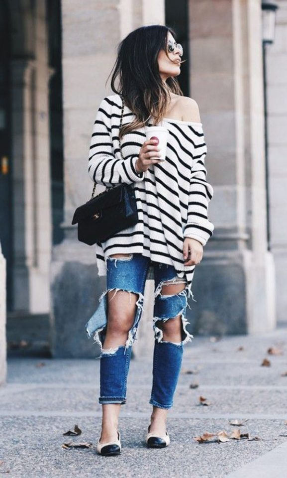 16 Ways to Wear Striped Sweaters in Winter Outfits  winter sweaters striped