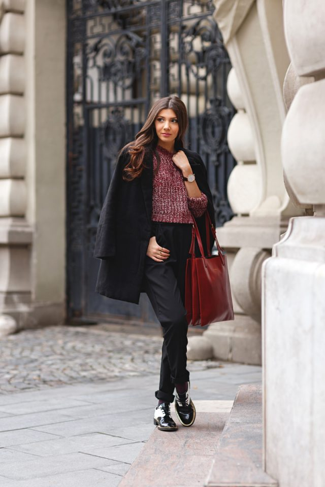 red-sweater-and-black-pants via