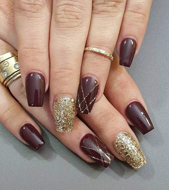 20 nail designs for new years eve pretty designs red and gold nails prinsesfo Image collections
