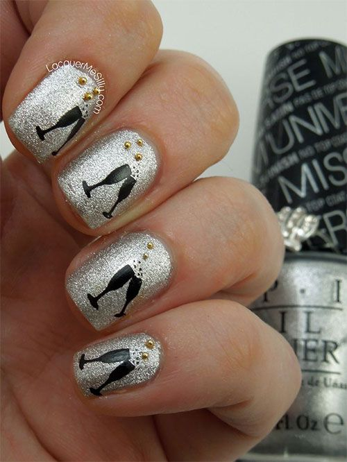 Sliver Nails - 20 Nail Designs For New Years Eve - Pretty Designs