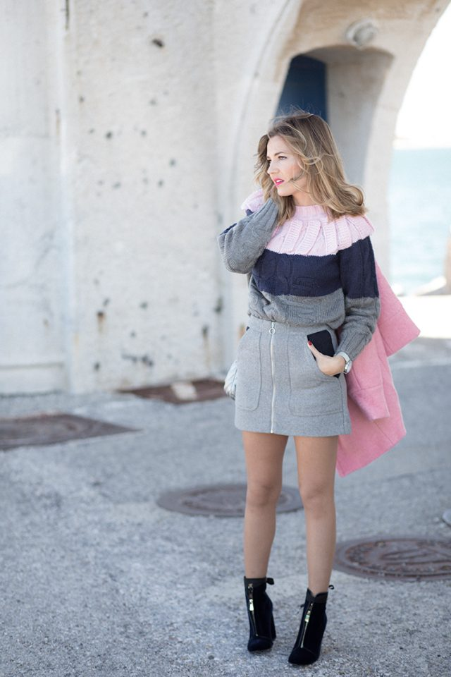 striped-sweater-and-grey-pencil-skirt via