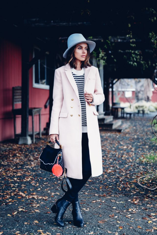 striped-sweater-and-pink-trench-coat via