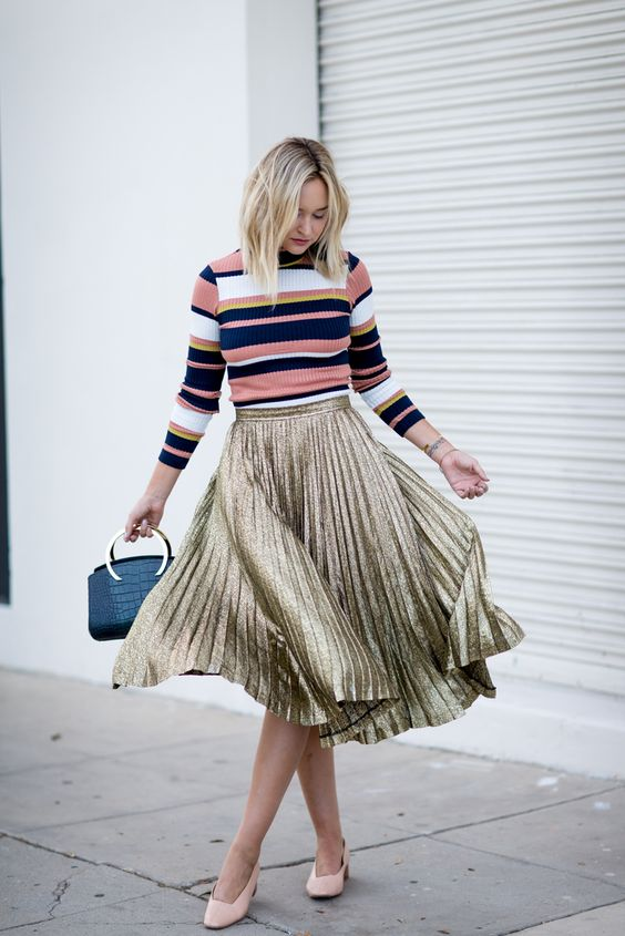 168b93adc7f Striped Sweater and Sequin Skirt. Striped Sweater and Sequin Skirt via. 16  Ways to Wear Striped Sweaters in Winter