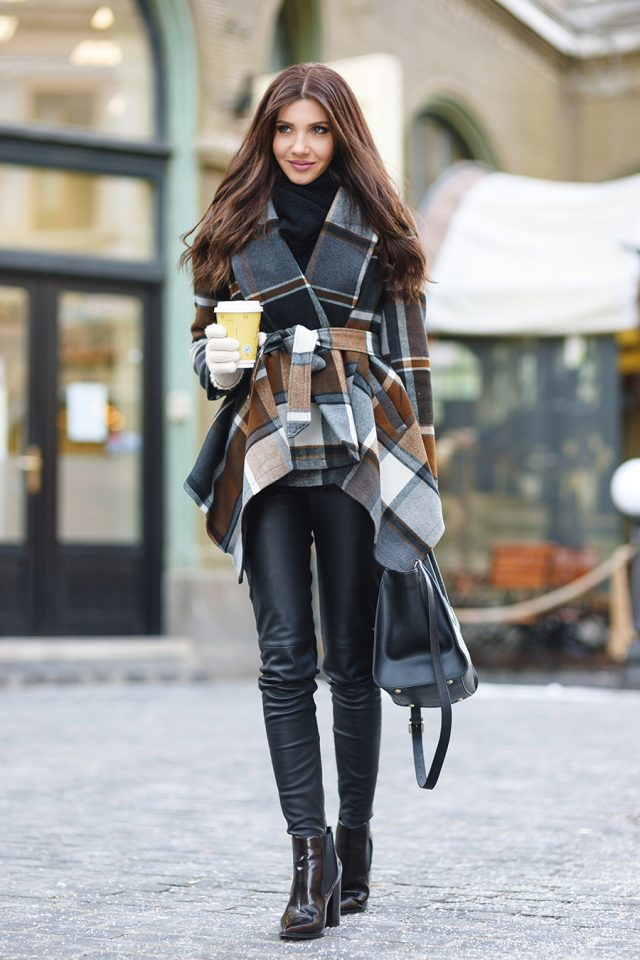 tartan-top-and-leather-pants via