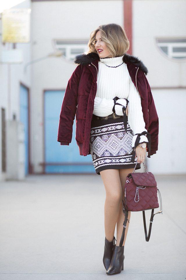 turtleneck-sweater-and-printed-skirt via