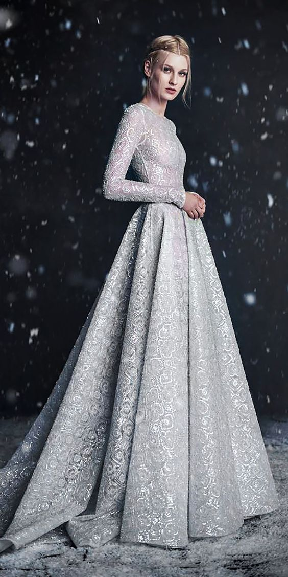 24 winter wonderland wedding ideas pretty designs for Silver dresses to wear to a wedding