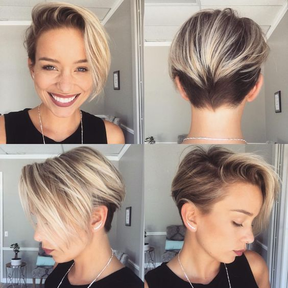 short side parted pixie haircut