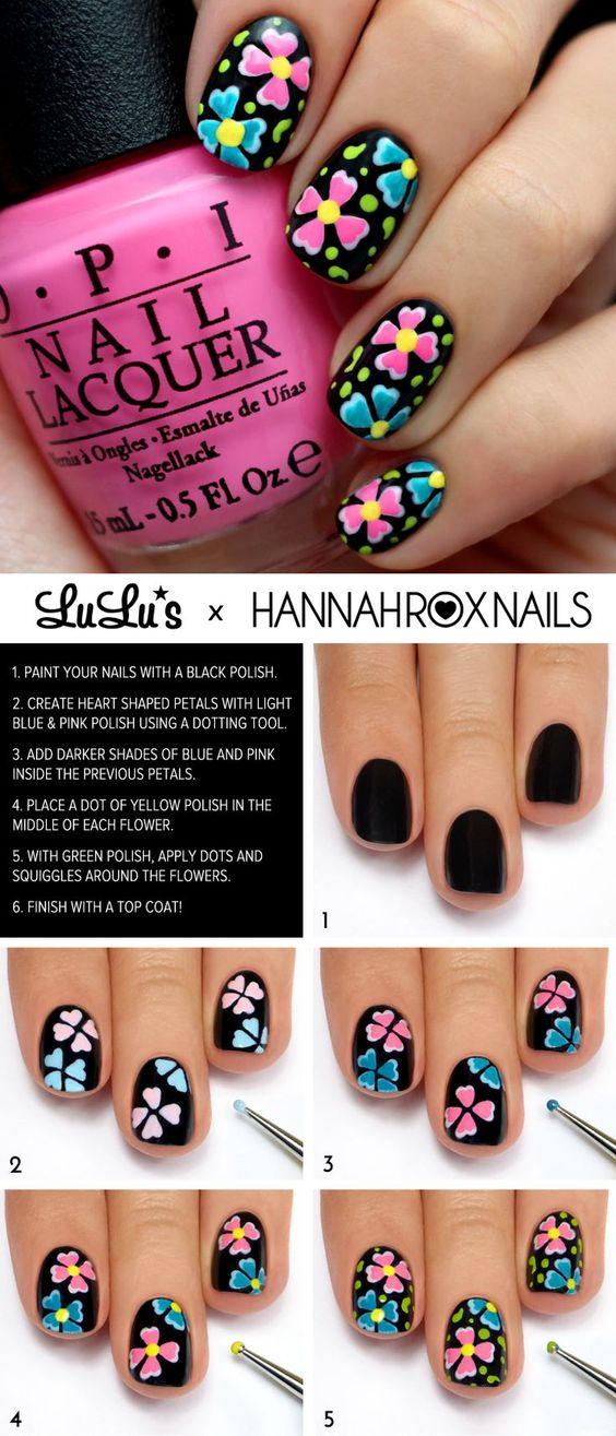 15 Nail Tutorials To Paint Floral Nails Pretty Designs