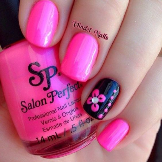 Pink and Black Nails with Flowers - 20 Cute Spring Nail Designs 2018 - Pretty Designs