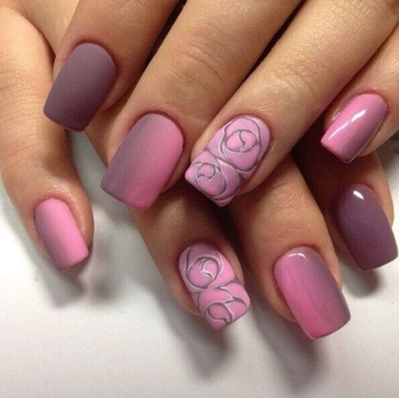 Rose Nail Design - 20 Cute Spring Nail Designs 2018 - Pretty Designs