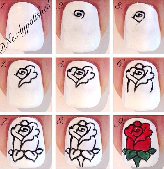 Rose nail design tutorial : Nail tutorials to paint floral nails pretty designs