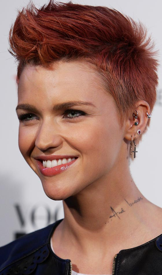 Short Red Faux Hawk for Women