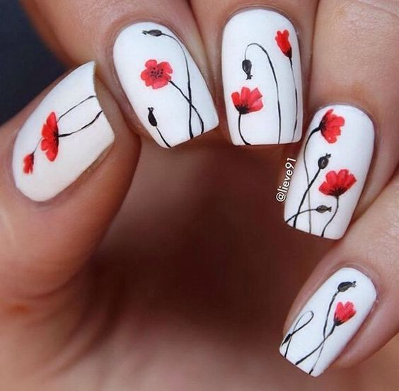 White Nails with Flowers - 20 Spring Nail Designs 2017 - Pretty Designs