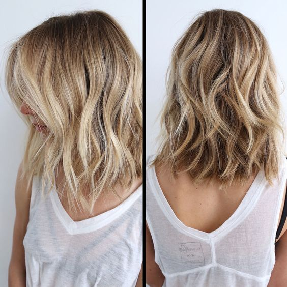 Layered Messy Long Bob Hairstyle For Women Balayage Haircut Thick Hair