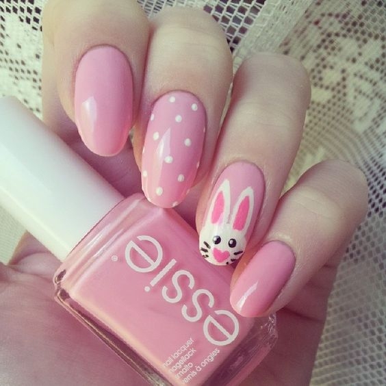 25 bunny nail designs for spring mani pretty designs pink bunny nails via prinsesfo Image collections