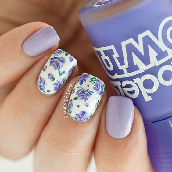 15 lovely nail designs for spring pretty designs white nails with purple flowers via mightylinksfo