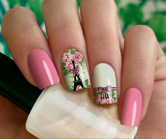 20 Nail Designs to Paint Eiffel Tower - Pretty Designs