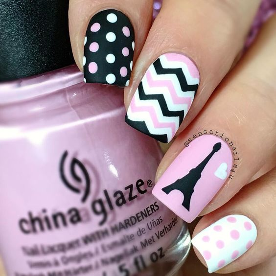 Lovely Nails - 20 Nail Designs To Paint Eiffel Tower - Pretty Designs