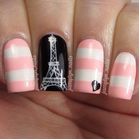 Дизайн ногтей эйфелева башня фото из страз