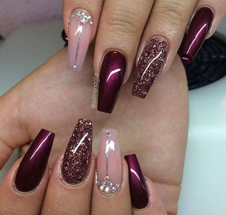 30 Amazing Burgundy Nail Designs for Women 2018 ... - 30 Amazing Burgundy Nail Designs For Women 2018 - Pretty Designs