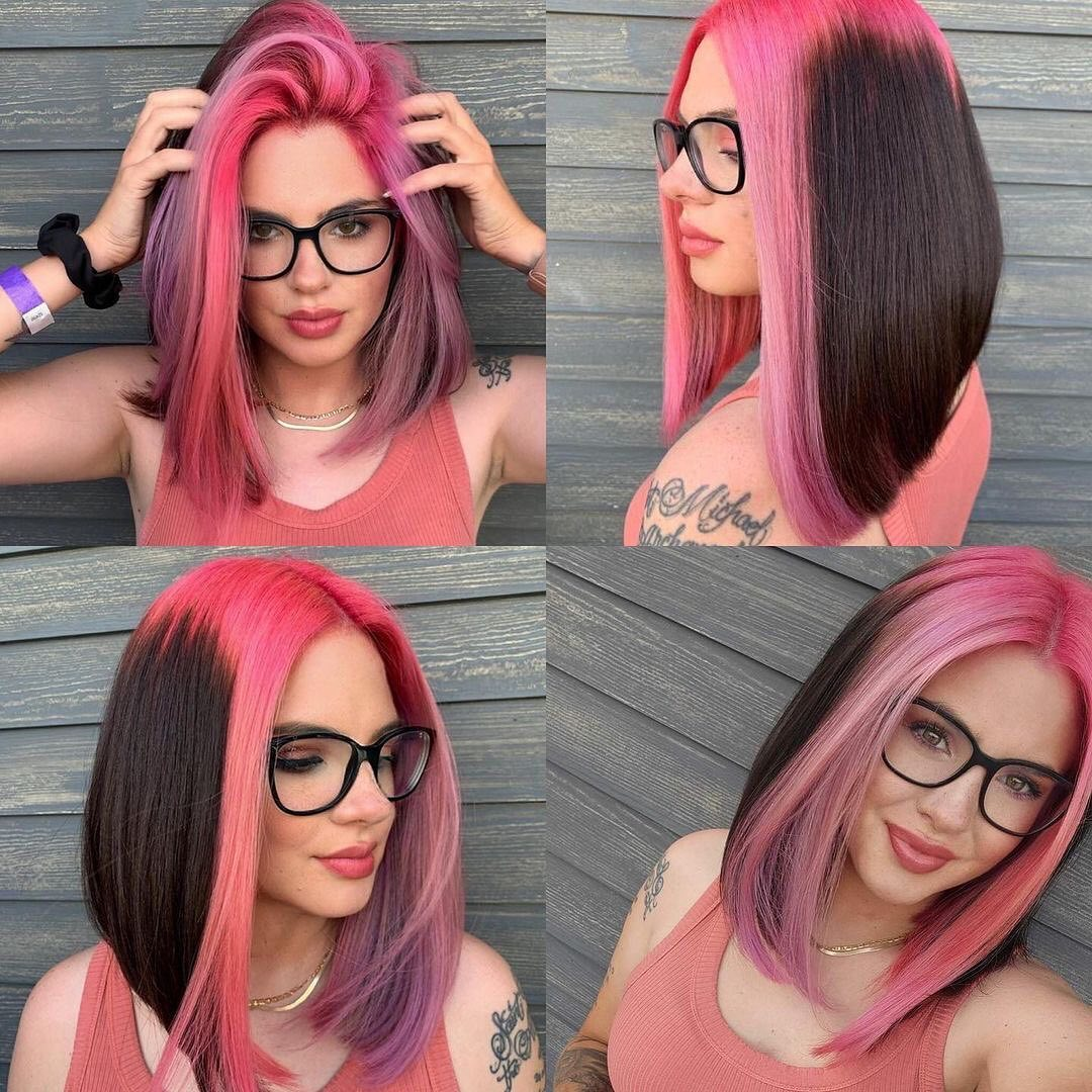 two tone black red hair color ideas for women