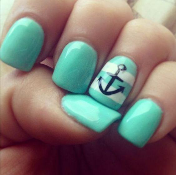 Beachy Aqua Manicures For Summer